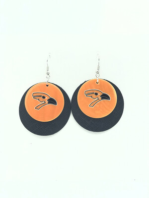 AUGUSTA ORIOLE SHELL ON ROUND BLACK LEATHER EARRINGS - LARGE