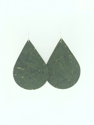 OLIVE GREEN WITH LIME GREEN ACCENTS TEARDROP EARRINGS