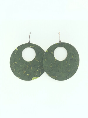 OLIVE GREEN WITH LIME GREEN ACCENTS CIRCLE CUT OUT EARRINGS