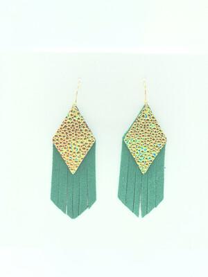 CHAMELEON STINGRAY ON GREEN SUEDE DIAMOND FRINGE EARRINGS
