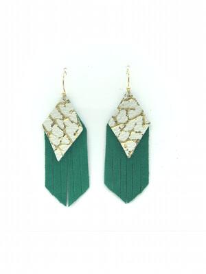 GOLD AND WHITE ON GREEN DIAMOND FRINGE EARRINGS