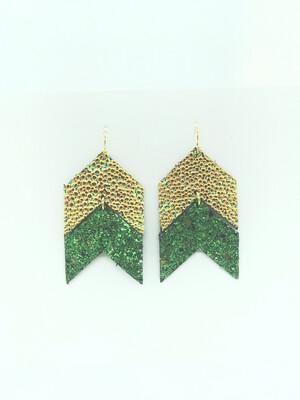 CHAMELEON STINGRAY AND GLITTER GREEN ARROW EARRINGS
