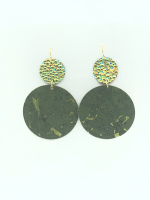 CHAMELEON STINGRAY AND OLIVE GREEN CIRCLE EARRINGS