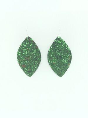 GREEN GLITTER LEAF EARRINGS