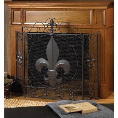 FLEUR-DE-LIS FIREPLACE SCREEN by Accent Plus