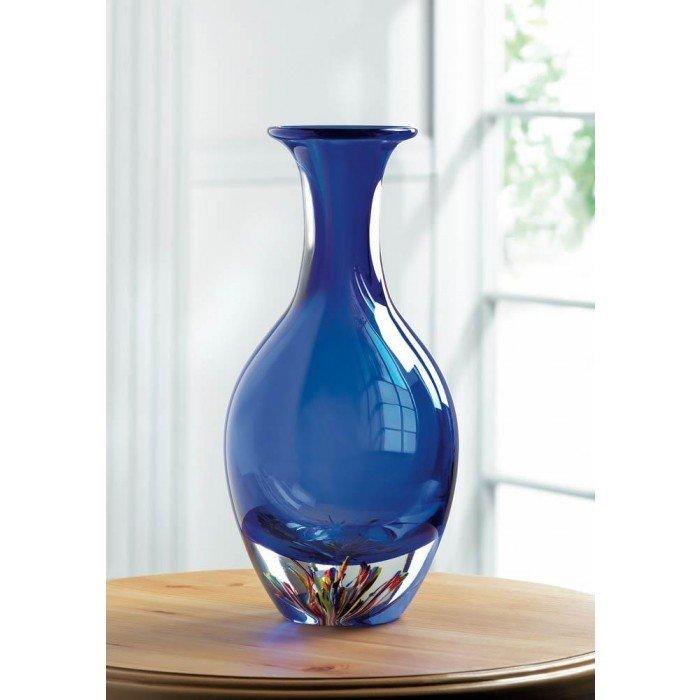 BLUE ART GLASS BOTTLENECK VASE