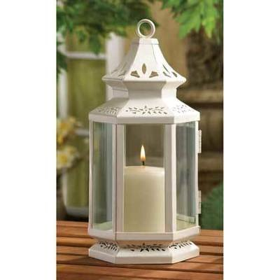 LARGE WHITE VICTORIAN CANDLE LANTERN