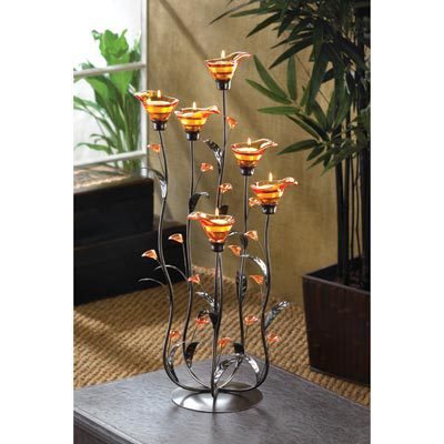12793 Amber Calla Lily Candleholder