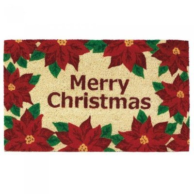 CHRISTMAS POINSETTIAS WELCOME MAT by Christmas Collection