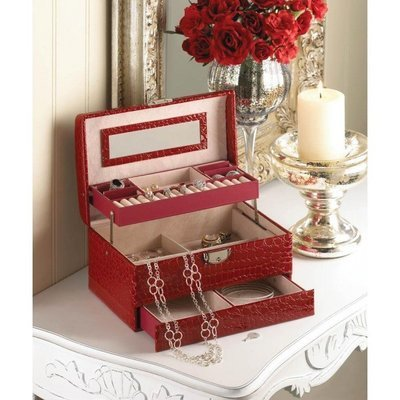 DELUXE RED JEWELRY BOX by Accent Plus
