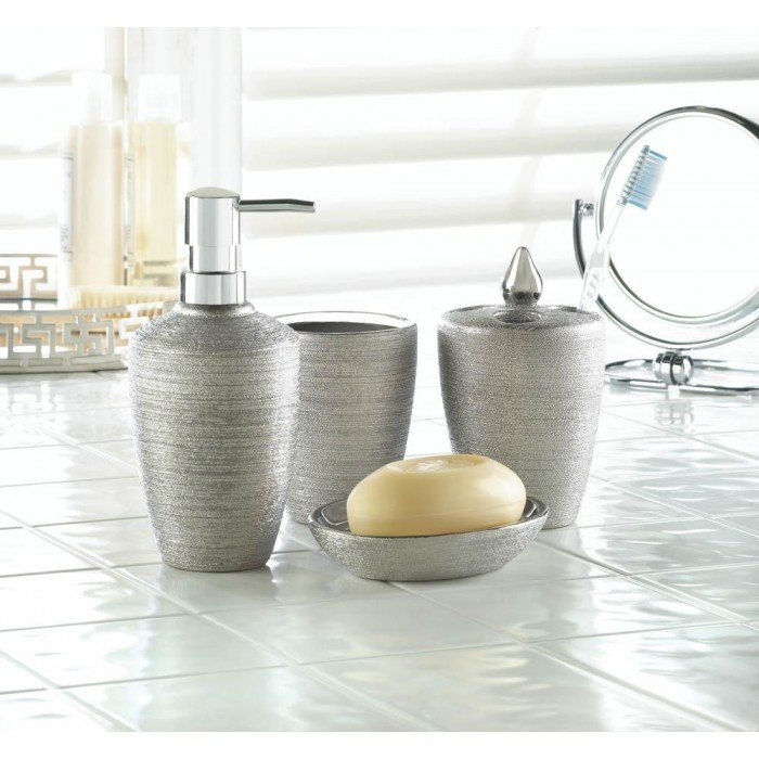 SILVER SHIMMER BATH ACCESSORY SET by Accent Plus