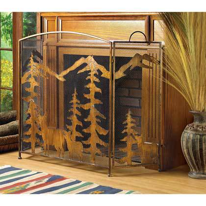 RUSTIC FOREST FIREPLACE SCREEN by Accent Plus