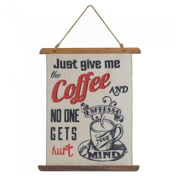 GIVE ME COFFEE LINEN WALL ART by Accent Plus