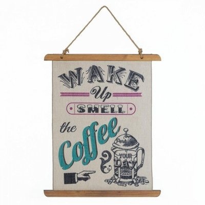 10018390 COFFEE PERK UP LINEN WALL ART by Accent Plus