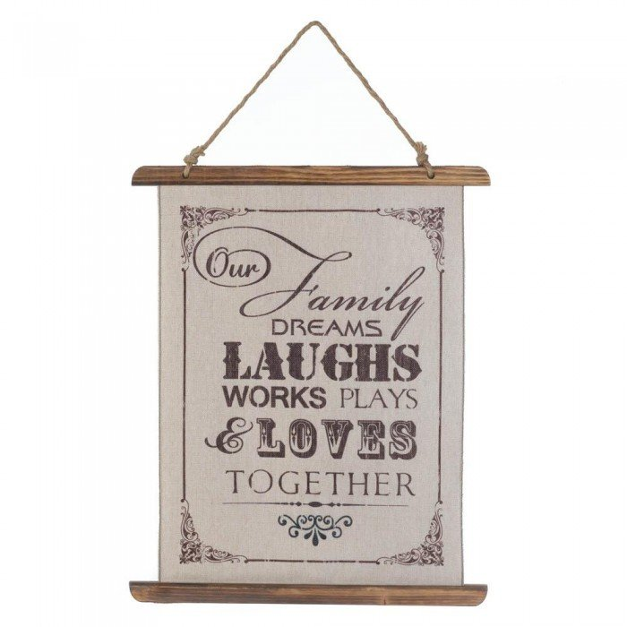 FAMILY LAUGHS LINEN WALL ART by Accent Plus