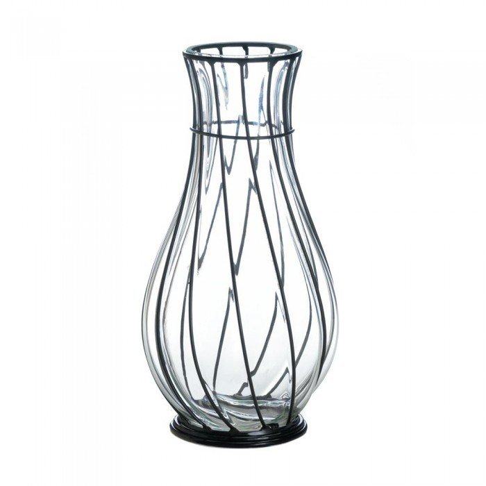 SHORT GLASS AND METAL VASE by Accent Plus