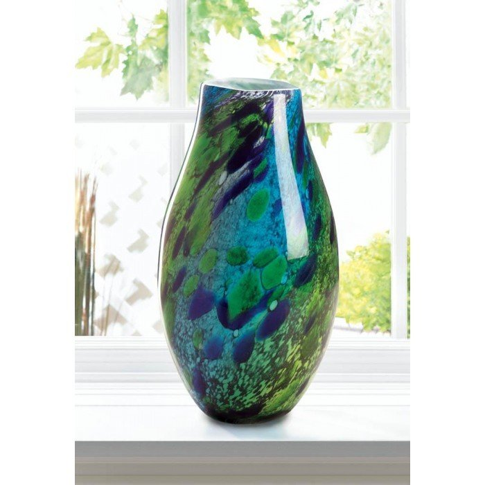 PEACOCK INSPIRED ART GLASS VASE by Accent Plus