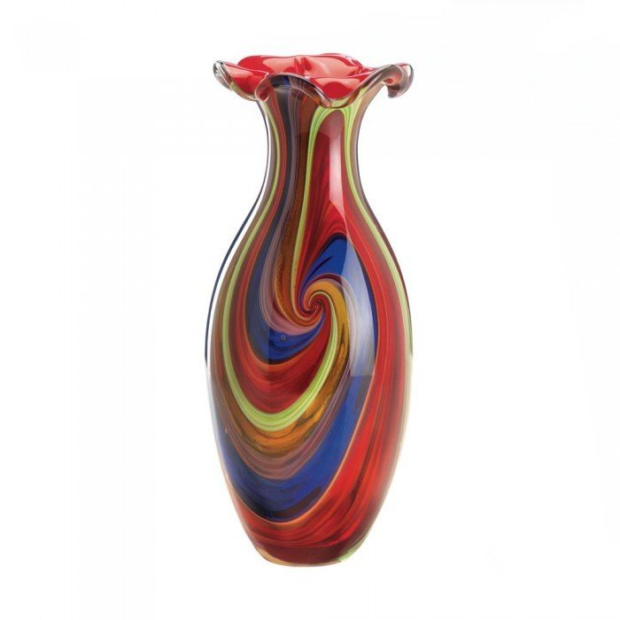SWIRL OF COLORS ART GLASS VASE by Accent Plus