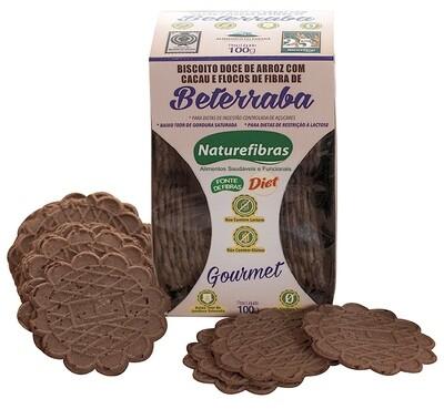 Biscoito Doce de Arroz Diet Com Cacau E Flocos de Fibras de Beterraba Sem Glúten e Sem Lactose