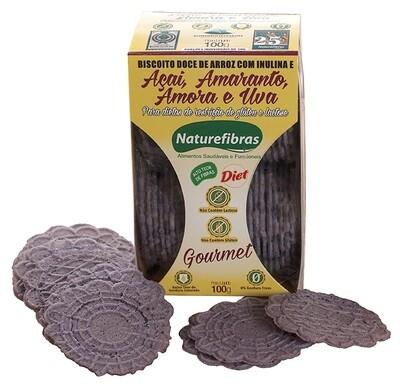 Biscoito Doce de Arroz Diet com Açai Amaranto Amora e Uva