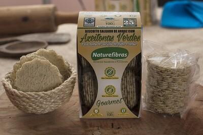 Biscoito Salgado De Arroz Com Azeitonas Verdes Sem Glúten e Sem Lactose