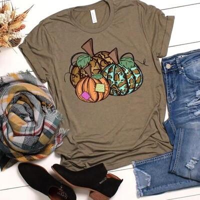 Leopard Patchwork Pumpkin Shirt