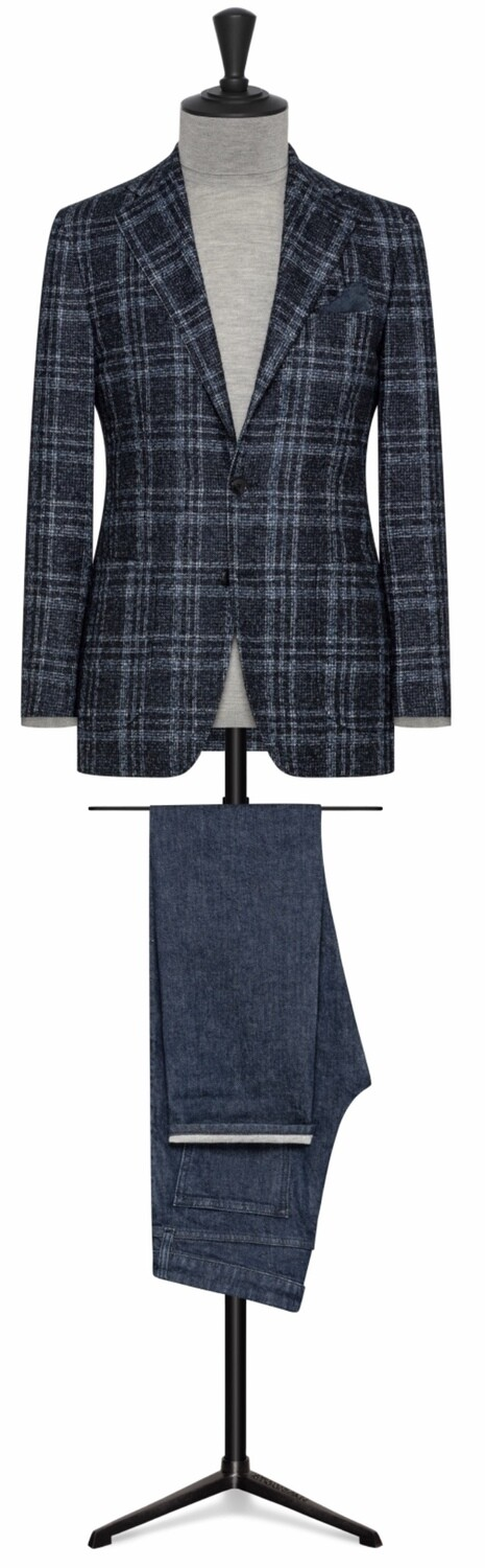 Bold Navy/Light Blue Double Plaid Check W/ Lower Patch Pockets
