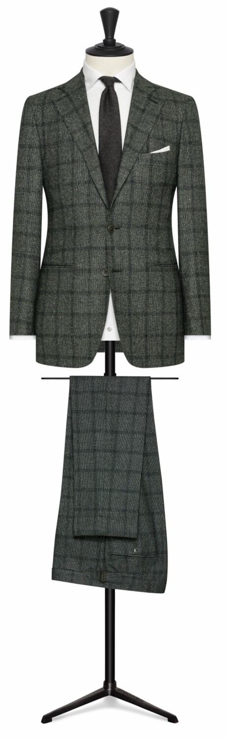Green Window Pane Single Breasted Notch Lapel Two Button Suit with Lower Besom Pockets and Side Vents.