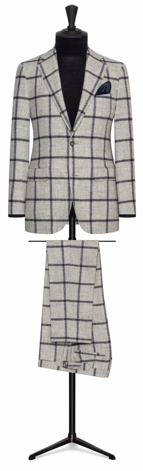 Light Grey Wool Flannel w/ Bold Blue Window Pane Single Breasted Notch Lapel Two Button Suit w/ Lower Flap Pockets and Side vents