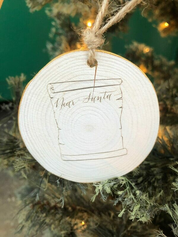 Dear Santa Wood Round