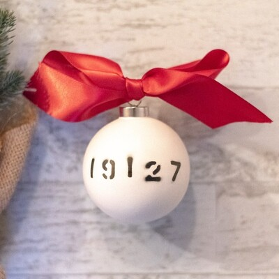 Zip Code Stenciled Bauble