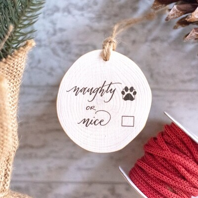 Naughty or Nice Paw Print- Naughty