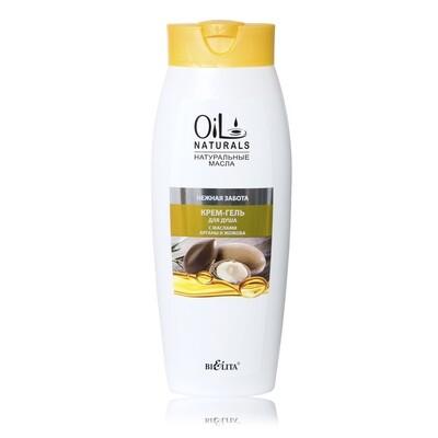 Белита | OIL NATURALS | Крем-гель для душа с маслами АРГАНЫ и ЖОЖОБА Нежная забота, 430 мл