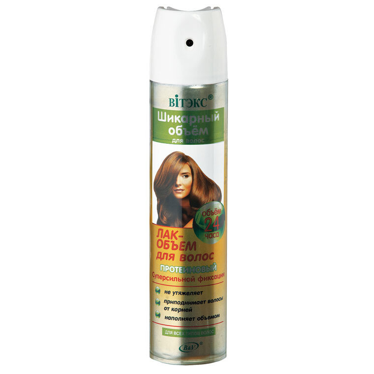 Шикарный объем |  ЛАК-ОБЪЕМ протеиновый с / с фиксации для всех типов волос (аэрозоль), 300 мл