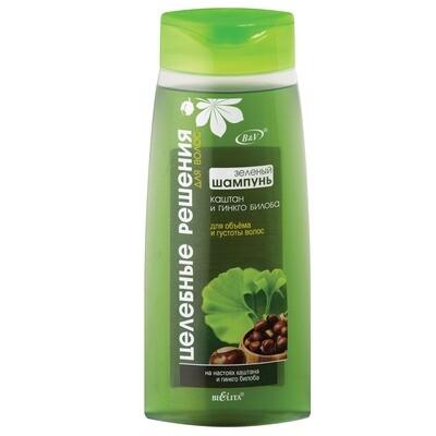Целебные РЕШЕНИЯ | ШАМПУНЬ зеленый Каштан и гинкго билоба для объема и густоты волос, 480 мл