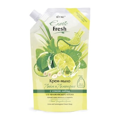 Витэкс | Exotic Fresh Крем-мыло | Лайм и Лемонграсс, дой-пак, 750 мл