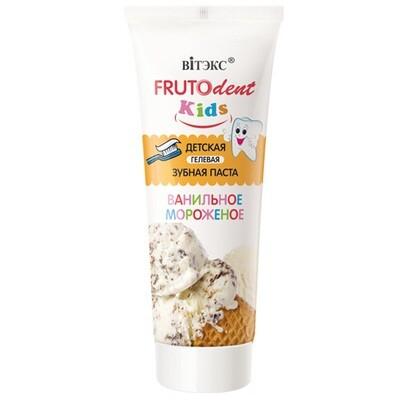FRUTOdent Kids | Зубная паста Детская Гелевая Ванильное мороженое, без фтора, 65 г