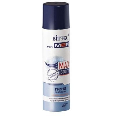 Витэкс | VITEX FOR MEN sport MAX |  Пена для бритья для всех типов кожи (аэрозоль), 250 мл