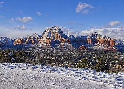 Holiday Pack of 12 Cards - 4 each of 3 Sedona Snow Scenes