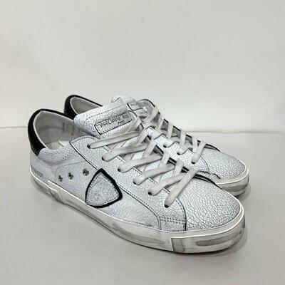 Sneaker pelle craccata vintage dettagli neri PHILIPPE MODEL Bianco-Nero