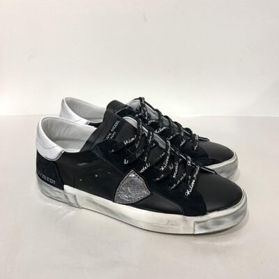 Sneaker Limited Ed. Pelle e dettagli suola metal silver vintage e laccio logo PHILIPPE MODEL Nera