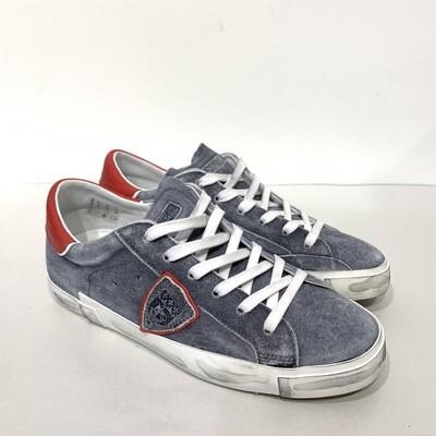Sneaker suede super vintage PHILIPPE MODEL col. Grigio Medio dettagli Rossi