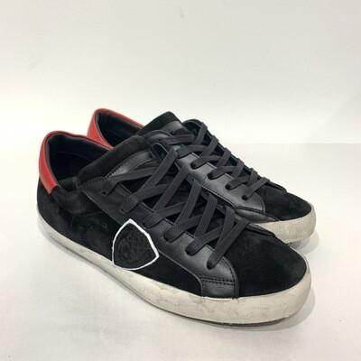Sneaker pelle e camoscio vintage PHILIPPE MODEL Col. Nero - Rosso