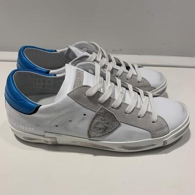 Sneaker pelle lavata PHILIPPE MODEL col. Bianco-Turchese