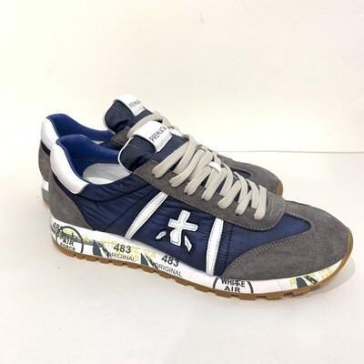 Sneaker nylon cangiante e camoscio vintage PREMIATA Col. Bleu Marine - Grigio