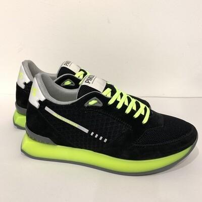 Sneaker Running nylon retina e camoscio, suola fluo' PMDS Col. Nero-Giallo Fluo'