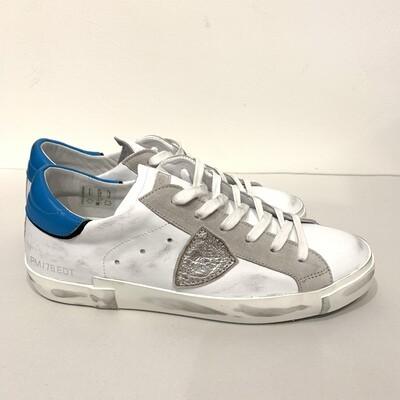 Sneaker Limited Ed. Pelle vintage e camoscio inserti metal e turchese PHILIPPE MODEL Col. Bianco-Turchese