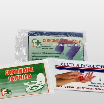 Kit Viaggio - Copri Water+Germo Fazzoletti+Cuscino Cervicale