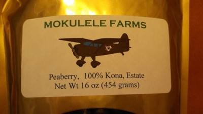 100% Kona, Estate, peaberry, Medium Roast
