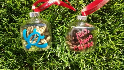 Hand painted ornaments, coffee beans inside